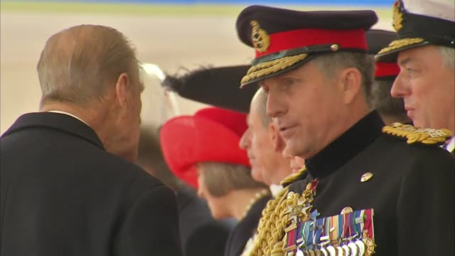ceremonial welcome at horse guards parade queen elizabeth ii and prince philip duke of edinburgh out of car and shaking hands with people / philip... - horse guards parade stock videos and b-roll footage