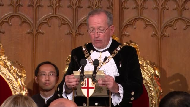 vidéos et rushes de chinese president state visit to britain: banquet at the guildhall; general views of guests at banquet alderman alan yarrow speech sot - monarchie