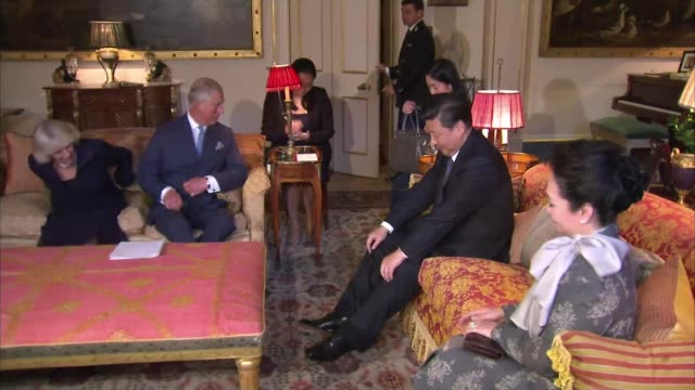 chinese president state visit to britain ***flash int prince charles introducing xi jinping and his wife to harp player charles and camilla sit for... - harp stock videos & royalty-free footage