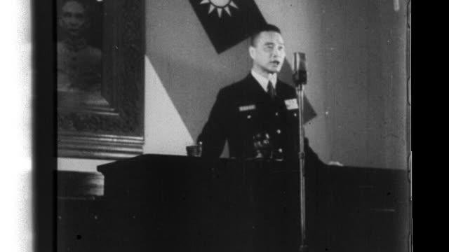 Chinese President Wang Jingwei delivers a speech at a ceremony celebrating National Day in Nanjing China during World War II