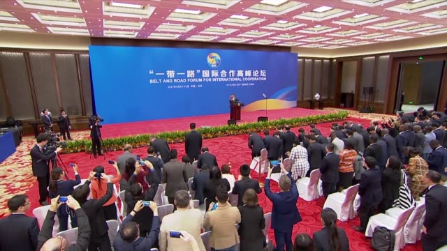 stockvideo's en b-roll-footage met chinese president xi jinping holds a press conference to conclude the belt and road forum at the international conference center at yanqi lake... - politics and government