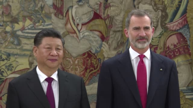 Chinese President Xi Jinping meets King Felipe VI of Spain in Madrid as part of his three day state visit