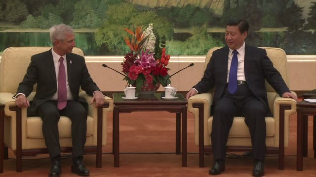 chinese president xi jinping meets with president of the french national assembly claude bartolone as part of the celebrations marking the 50year... - french national assembly stock-videos und b-roll-filmmaterial