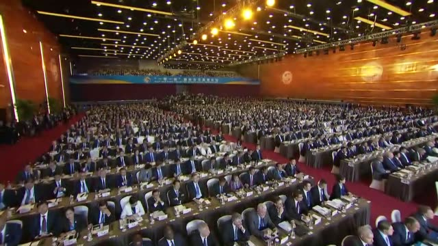 chinese president xi jinping speaks during the opening ceremony of the belt and road forum at the china national convention center in beijing china... - belt stock videos & royalty-free footage