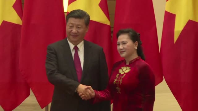 chinese president xi jinping was welcomed sunday in hanoi by vietnamese communist party general secretary nguyen phu trong at the start of an... - chinese communist party stock videos and b-roll footage