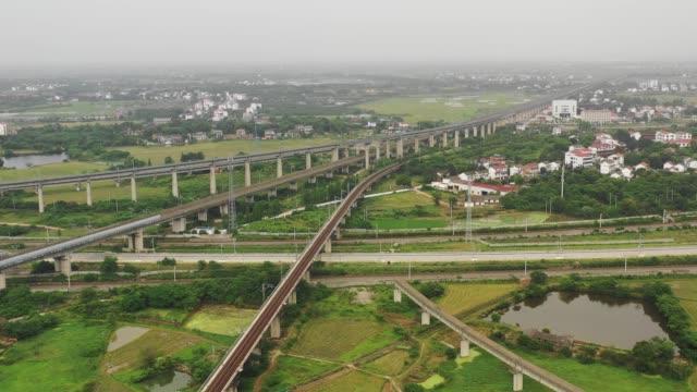 中国の鉄道高架農村シーン - 高速列車点の映像素材/bロール
