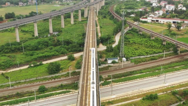 chinese railway elevated rural scene - passenger train stock videos & royalty-free footage