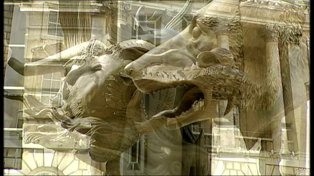 Chinese regime denounced by British artists as Ai Weiwei exhibition opens ENGLAND London Somerset House EXT General views of bronze animal head...