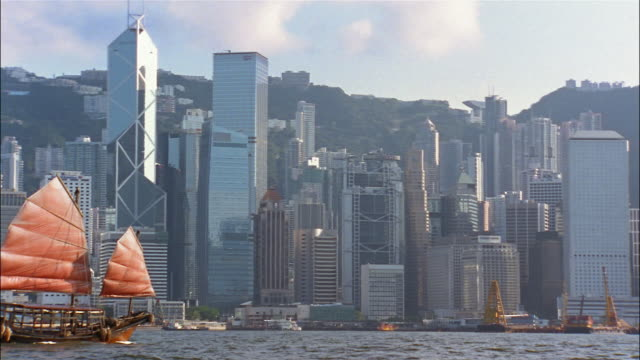 A Chinese sailing vessel passes in front of the Hong Kong skyline.