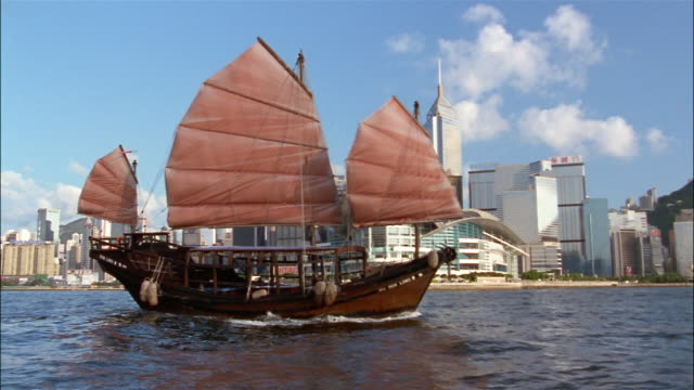 A Chinese sailing vessel sails in a harbor in front of the Hong Kong skyline.