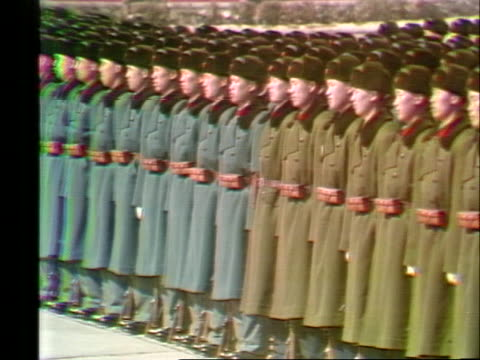 chinese soldiers stand in tiananmen square as united states president richard nixon's motorcade passes by during his historic trip to china. - business or economy or employment and labor or financial market or finance or agriculture stock videos & royalty-free footage