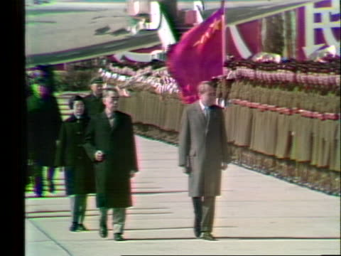 chinese soldiers stand in tiananmen square as us president richard nixon and chinese prime minister chou en lai pass by. - (war or terrorism or election or government or illness or news event or speech or politics or politician or conflict or military or extreme weather or business or economy) and not usa stock videos & royalty-free footage