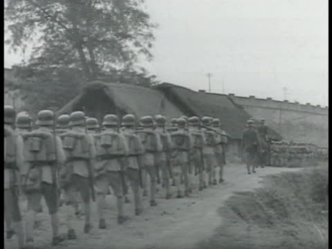 chinese soldiers troops marching on road ms chiang kaishek walking w/ generals officers vs boy girl scouts standing in formation second sinojapanese... - chiang kai shek stock-videos und b-roll-filmmaterial