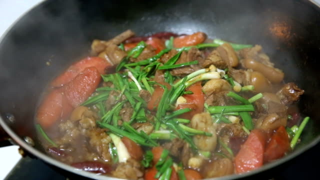 chinese style braised mutton in brown sauce - braised stock videos and b-roll footage