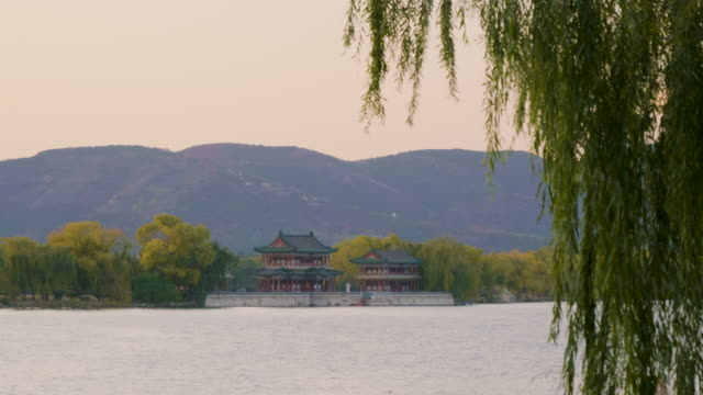 WS Chinese style buildings across lake at sunset, Summer Palace, UNESCO World Heritage Site, Beijing, China