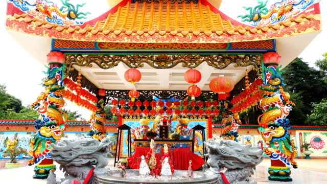 chinese style shrine in thailand - shrine stock videos & royalty-free footage