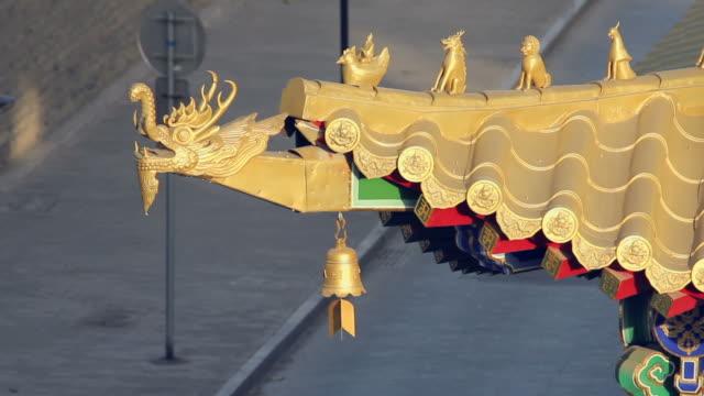 ls cu ha chinese temple decoration/xian,shaanxi,china - rappresentazione di animale video stock e b–roll