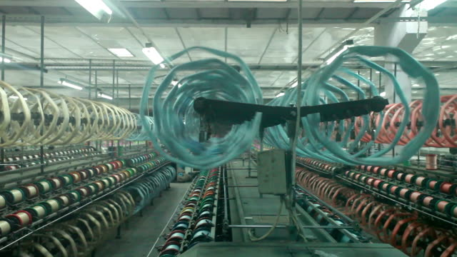 chinese textile factory interior and machines working scene - ball of wool stock videos & royalty-free footage