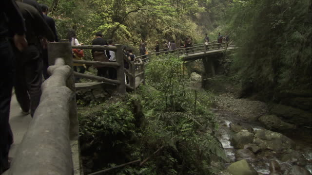Chinese tourists cross bridge in picturesque valley, Mount Emei, China