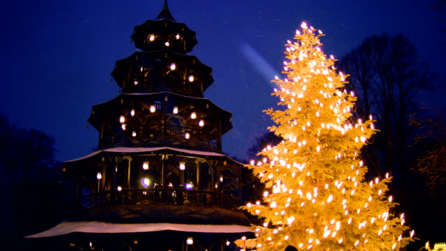 Chinese tower christmas market with christmas tree