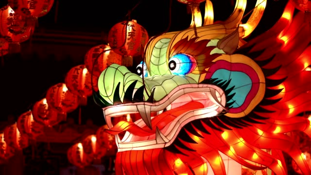 chinese traditional dragon paper lantern - dragon stock videos & royalty-free footage