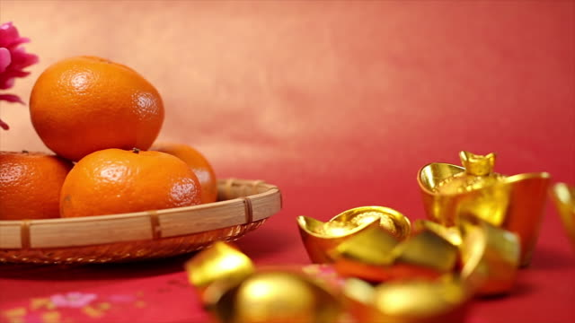 chinese traditional golden money decoration - tangerine stock videos and b-roll footage