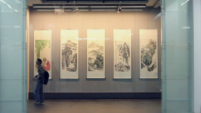 ms chinese traditional painting in exhibition/xian,shaanxi,china - exhibition stock videos & royalty-free footage