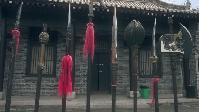 stockvideo's en b-roll-footage met chinese traditional weapons,xi'an,china. - gravure gefabriceerd object