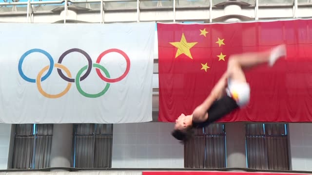 chinese trampoline star dong dong has spent his life defying gravity but now he wants to defy his age as he trains to participate in a... - star jump stock videos & royalty-free footage