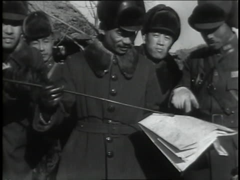 chinese troops dig trenches while officers consult. - manchuria region stock videos & royalty-free footage