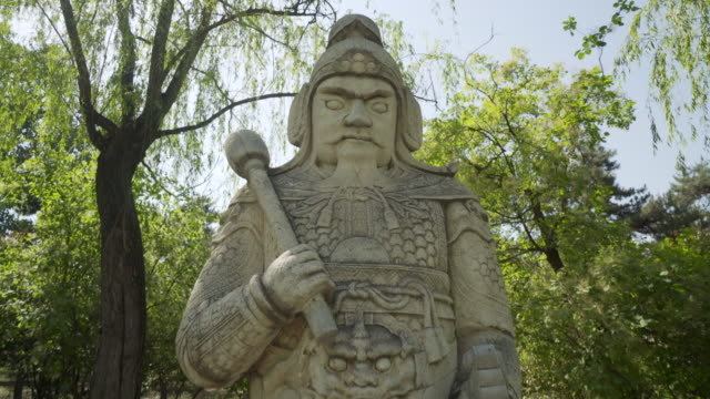 chinese warrior sculpture on the sacred way of ming dynasty tombs - beijing, china - ming tombs stock videos and b-roll footage
