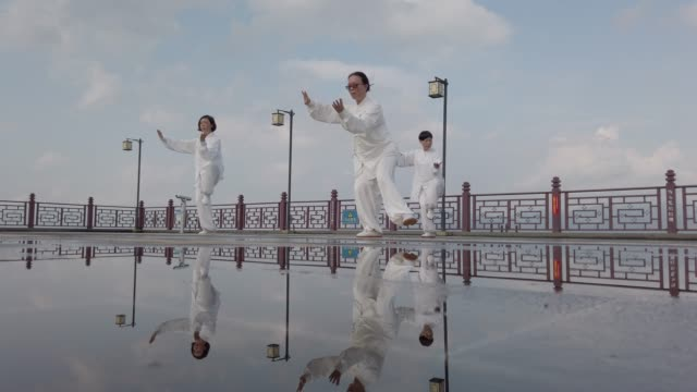 chinese woman practicing tai chi - china film group stock videos & royalty-free footage