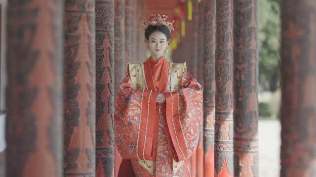 漢風の中国人女性、古代の衣服 - china east asia点の映像素材/bロール