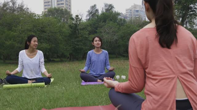 公共公園でヨガを練習している中国の若い女性 - public park点の映像素材/bロール