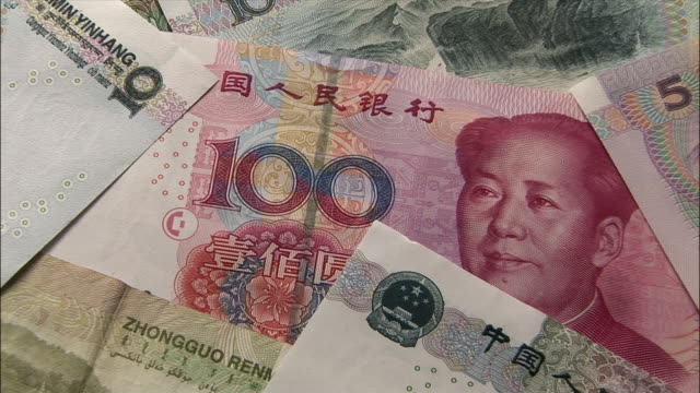 ecu, zo, chinese yuan banknotes - mao tse tung video stock e b–roll