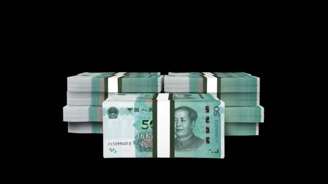 50 chinese yuan stack drop on screen, 50 chinese yuan stack falling animation with alpha - chinese currency stock videos & royalty-free footage