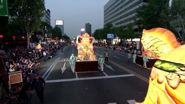 ms  chinese zodiacl lanterns on buddha's birthday event in jongro street / seoul, south korea - buddha's birthday stock videos and b-roll footage
