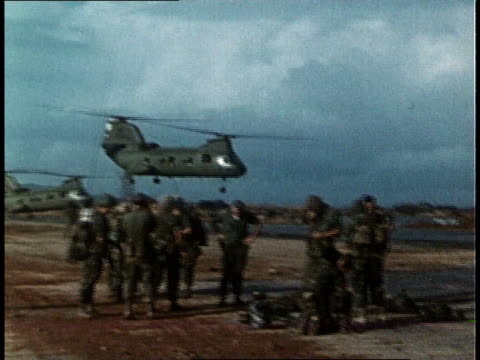 chinook helicopters and us marines on ground in transport, non-combat situation / south vietnam - south vietnam stock videos & royalty-free footage