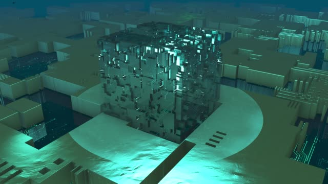 chip-prozessor, alien cube, borg collective, konstruktion, geometrische genie form, gebäude, 3d-würfel, fantasy-raum - ufo stock-videos und b-roll-filmmaterial