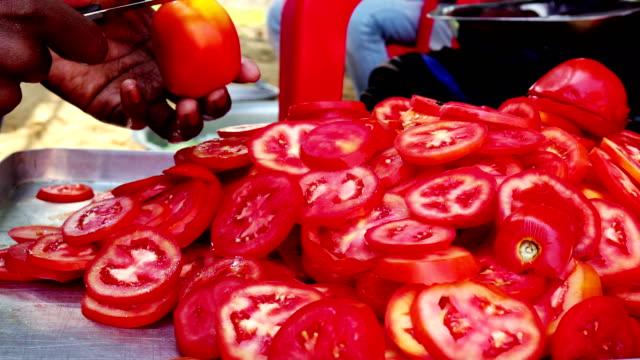 chipping fresh salad - tomato salad stock videos & royalty-free footage