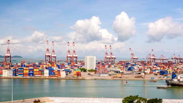 stockvideo's en b-roll-footage met chiwan port of shenzhen - bouwmachines