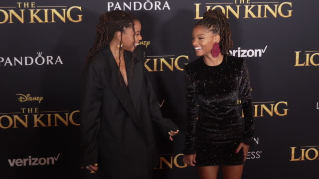 Chloe Bailey and Halle Bailey at the World Premiere of Disney's The Lion King at Dolby Theatre on July 09 2019 in Hollywood California