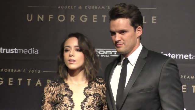 Chloe Bennet and Austin Nichols at the Audrey and KoreAm 2015 Unforgettable Gala at The Beverly Hilton Hotel in Beverly Hills at Celebrity Sightings...