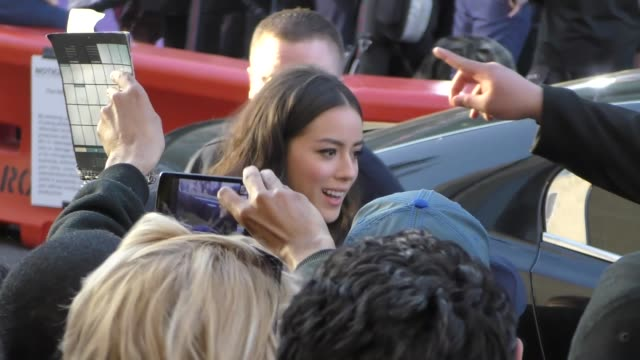 chloe bennet arriving to the guardians of the galaxy 2 premiere at dolby theatre in hollywood in celebrity sightings in los angeles, - the dolby theatre stock videos & royalty-free footage