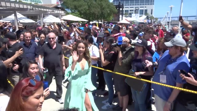 chloe bennet, jeff ward, clark gregg, ming-na wen, henry simmons, and natalia cordova-buckley outside the imdboat on day 2 of san diego comic-con... - ming na stock videos & royalty-free footage