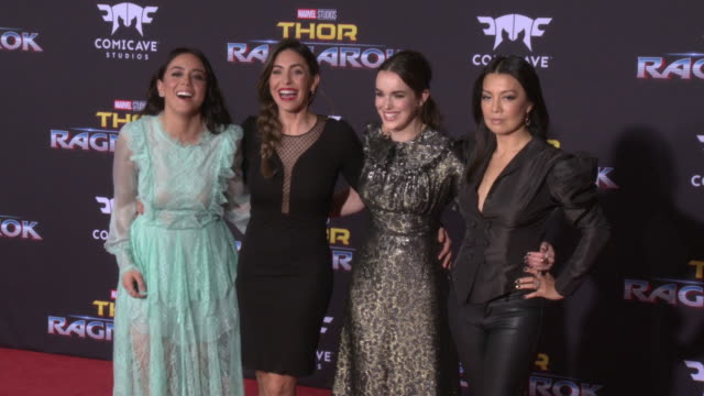 """chloe bennet, natalia cordova-buckley, elizabeth henstridge and ming-na wen at the """"thor: ragnarok"""" premiere at the el capitan theatre on october 10,... - ming na stock videos & royalty-free footage"""