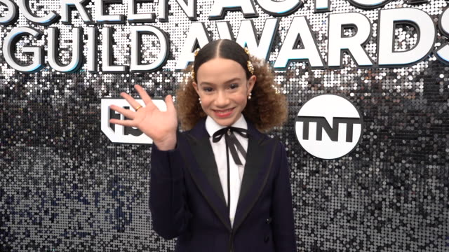 chloe coleman at the 26th annual screen actorsguild awards - red carpet roaming at the shrine auditorium on january 19, 2020 in los angeles,... - shrine auditorium stock videos & royalty-free footage