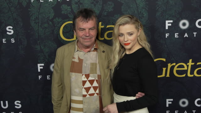 "chloe grace moretz and neil jordan at the los angeles special screening of ""greta"" at arclight cinemas on february 26, 2019 in hollywood, california. - 優美点の映像素材/bロール"