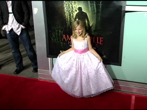 stockvideo's en b-roll-footage met chloe grace moretz at the 'amityville horror' worldwide premiere at the cinerama dome at arclight cinemas in hollywood california on april 7 2005 - 2005