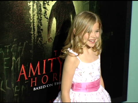 chloe grace moretz at the 'amityville horror' worldwide premiere at the cinerama dome at arclight cinemas in hollywood california on april 7 2005 - chloe designer label stock videos and b-roll footage